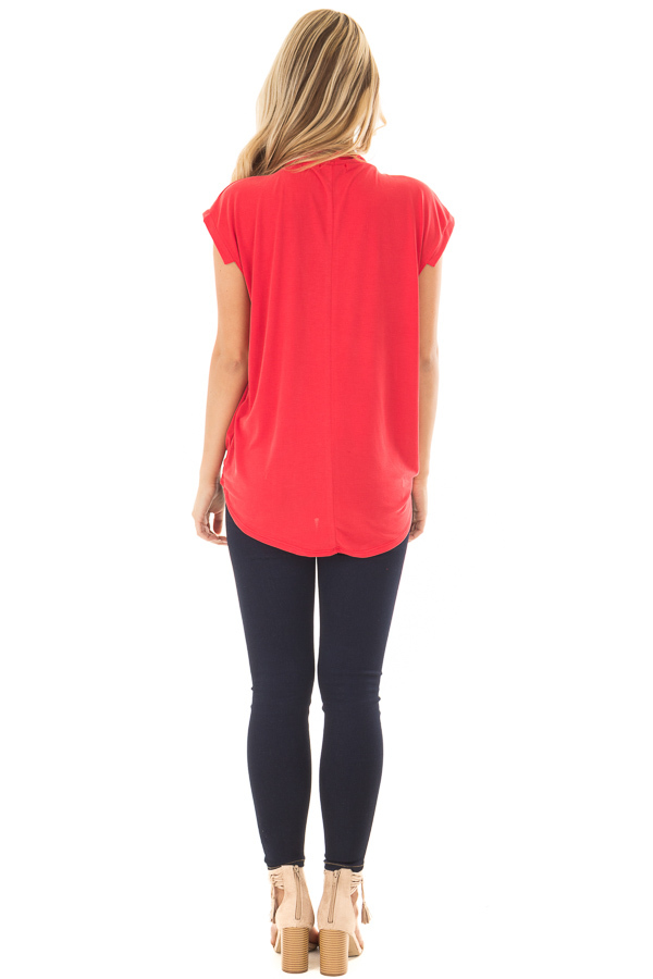 Lipstick Red Surplice V Neck Top with Front Twist Detail back full body