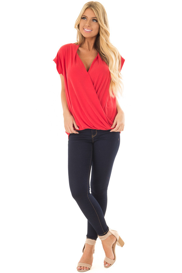 Lipstick Red Surplice V Neck Top with Front Twist Detail front full body