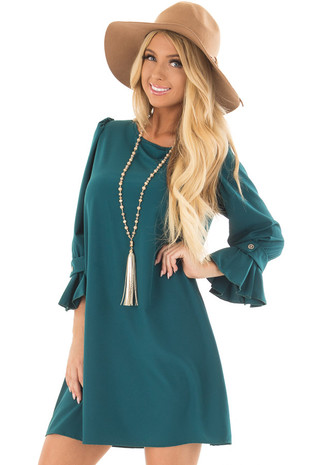 Hunter Green Bell Sleeve Dress front close up