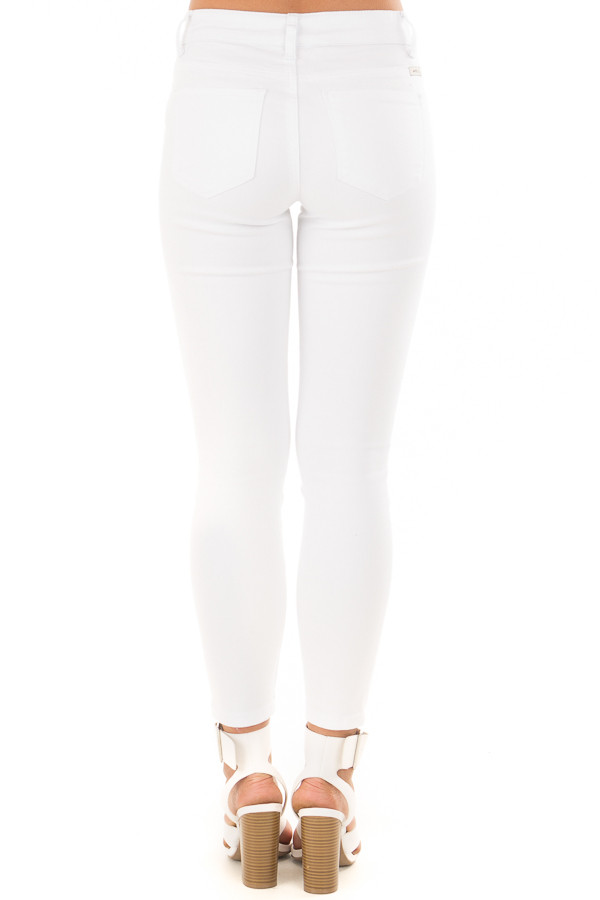 White Cropped Ankle Skinny Jeans back view