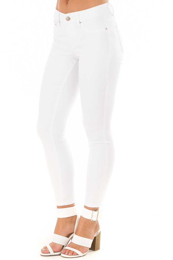 White Cropped Ankle Skinny Jeans front side view