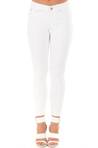 White Cropped Ankle Skinny Jeans front view