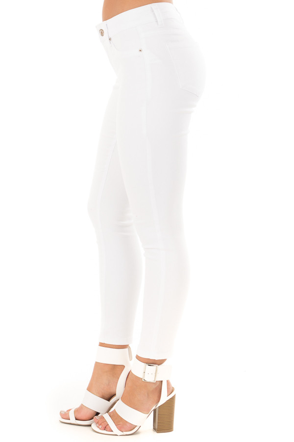 White Cropped Ankle Skinny Jeans side view