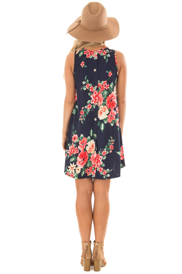 Navy Floral Print Slinky Dress with Button Details in Back back full body