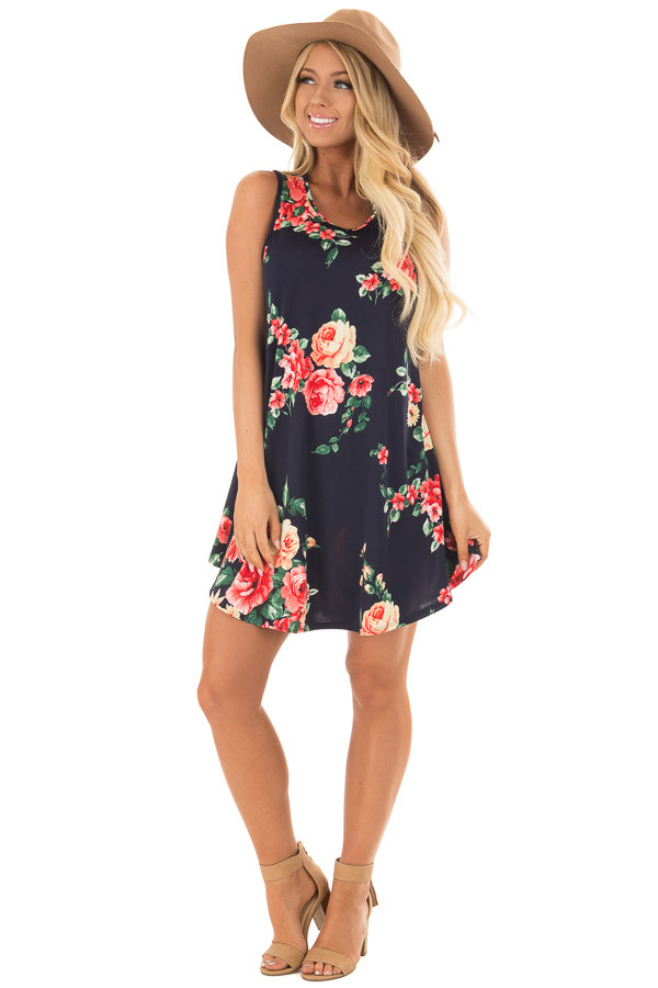 Navy Floral Print Slinky Dress with Button Details in Back front full body