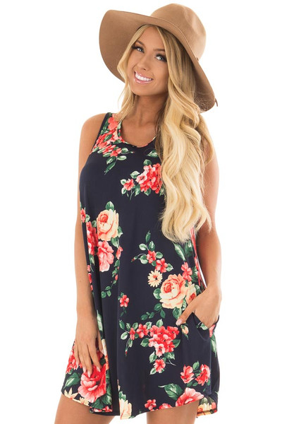 Navy Floral Print Slinky Dress with Button Details in Back front close up