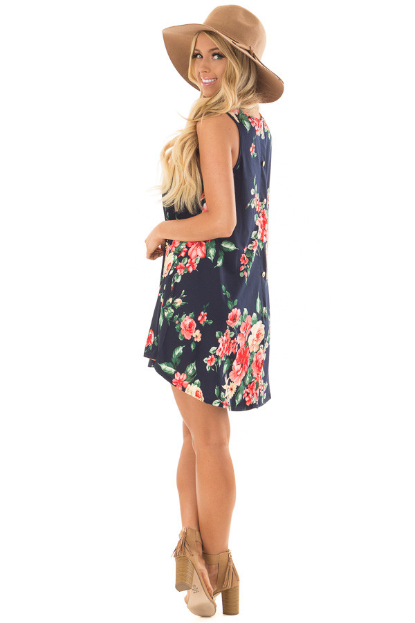 Navy Floral Print Slinky Dress with Button Details in Back back side full body