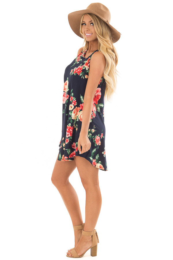 Navy Floral Print Slinky Dress with Button Details in Back side full body