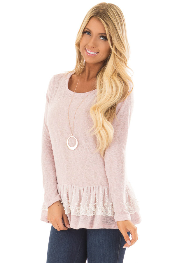 Baby Pink Top with Ivory Lace Ruffle and Pearl Detail front close up