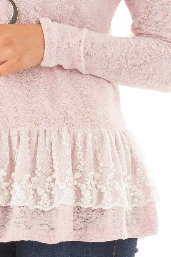 Baby Pink Top with Ivory Lace Ruffle and Pearl Detail detail