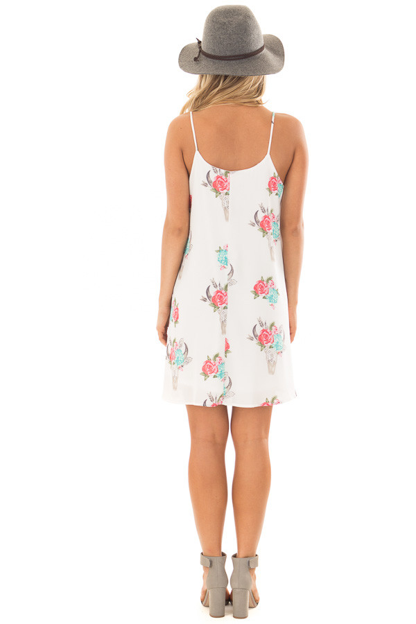 White Flowy Dress with Floral Skull Print back full body