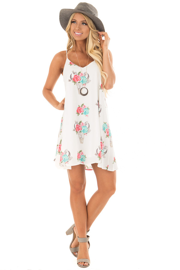 White Flowy Dress with Floral Skull Print front full body