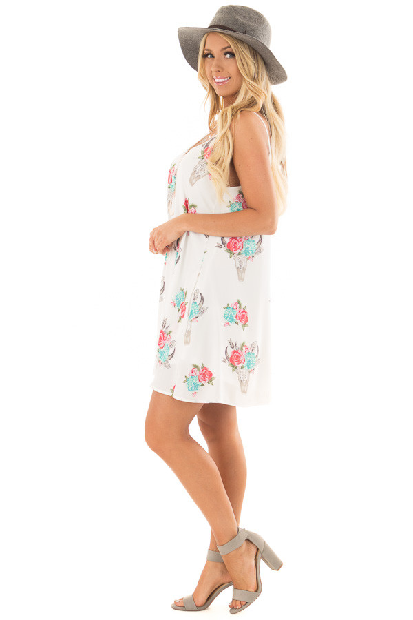 White Flowy Dress with Floral Skull Print side full body