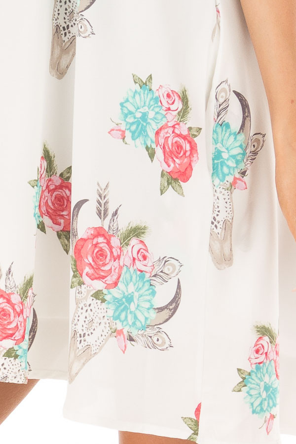 White Flowy Dress with Floral Skull Print detail
