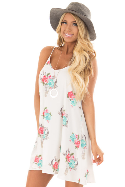 White Flowy Dress with Floral Skull Print front close up