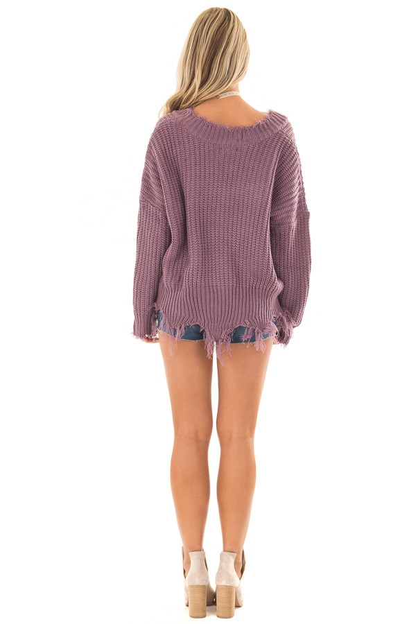 Lilac V Neck Sweater with Distressed Detail back full body