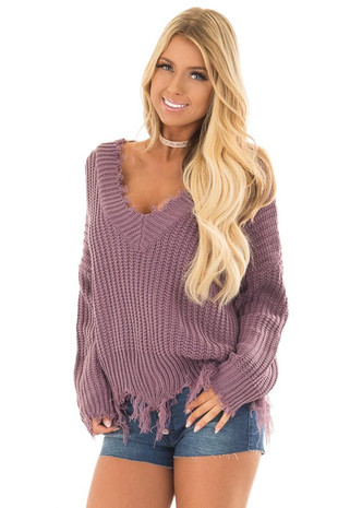 Lilac V Neck Sweater with Distressed Detail front close up