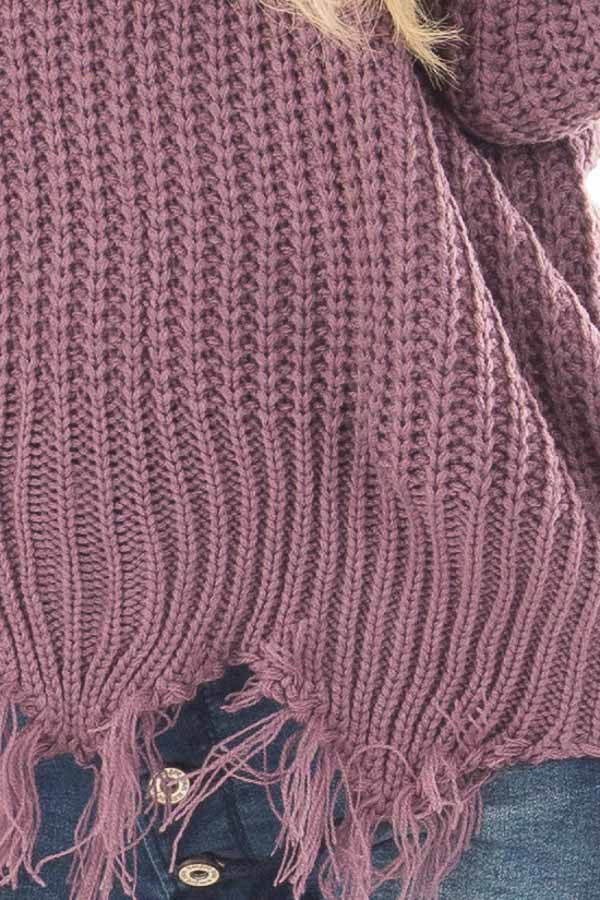 Lilac V Neck Sweater with Distressed Detail detail