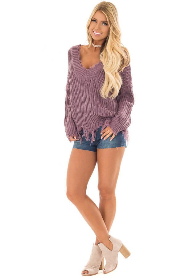 Lilac V Neck Sweater with Distressed Detail front full body
