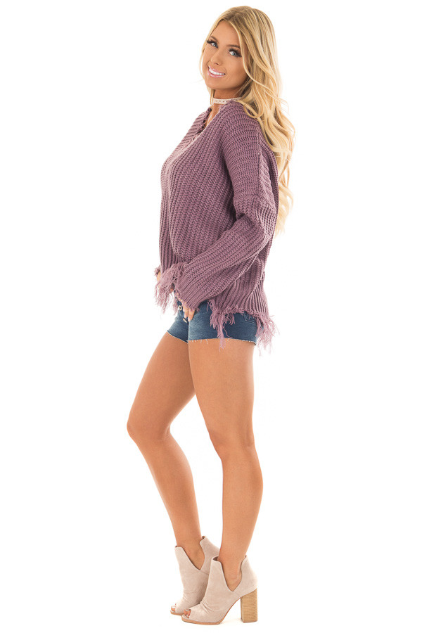 Lilac V Neck Sweater with Distressed Detail side full body