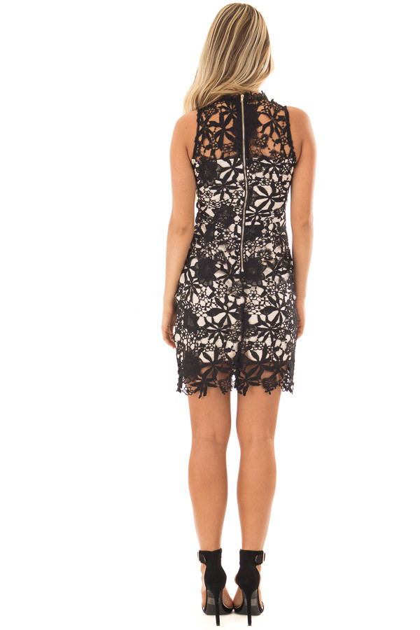 Black Sleeveless Dress with Nude Lining and Sheer Details back full body