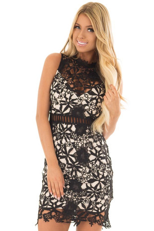 Black Sleeveless Dress with Nude Lining and Sheer Details front close up