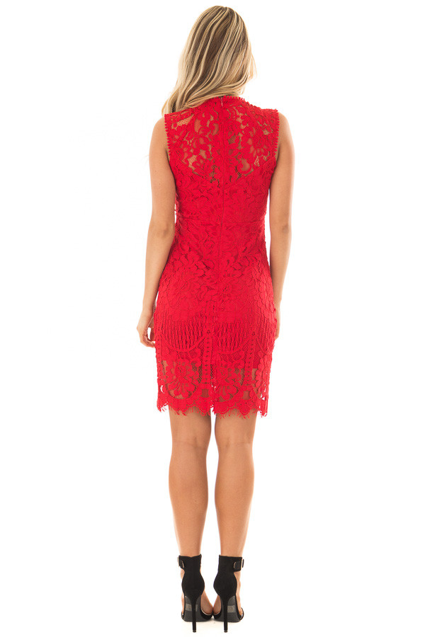 Red Fitted Lace Dress with Sheer Details back full body