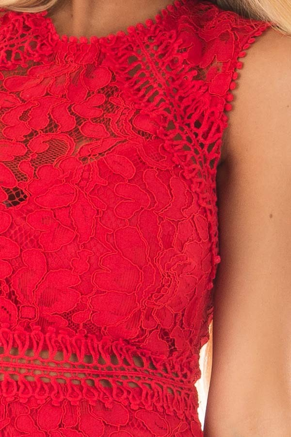 Red Fitted Lace Dress with Sheer Details detail