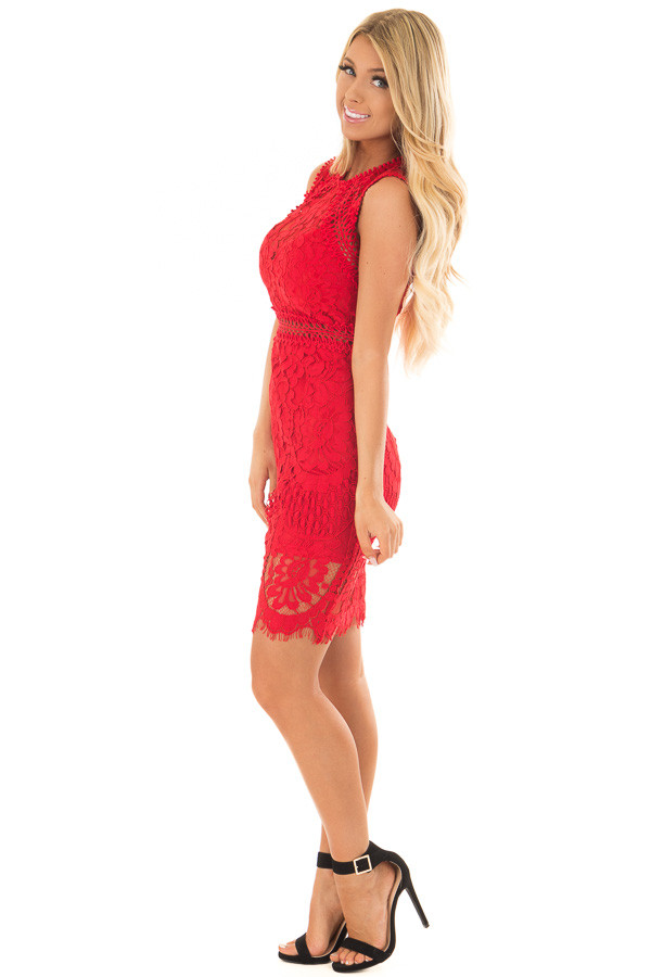 Red Fitted Lace Dress with Sheer Details side full body