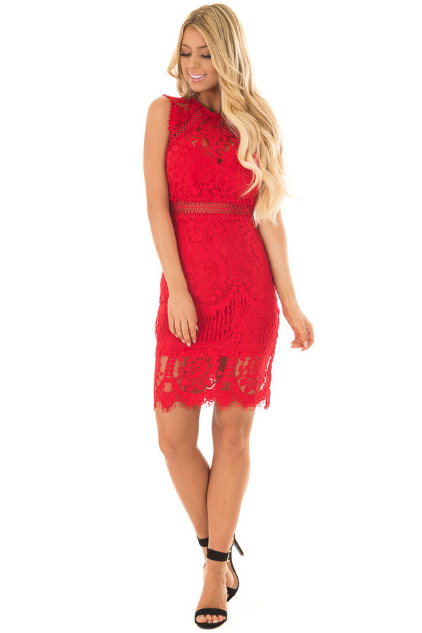 Red Fitted Lace Dress with Sheer Details front full body