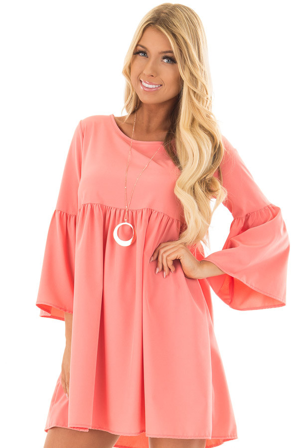 Coral Ruffle Babydoll Tunic Dress front close up