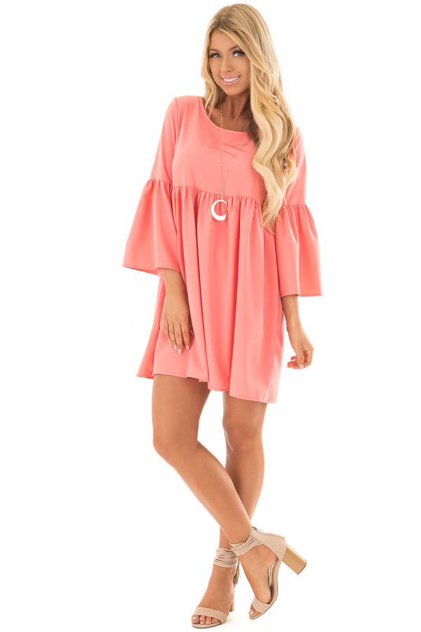 Coral Ruffle Babydoll Tunic Dress front full body