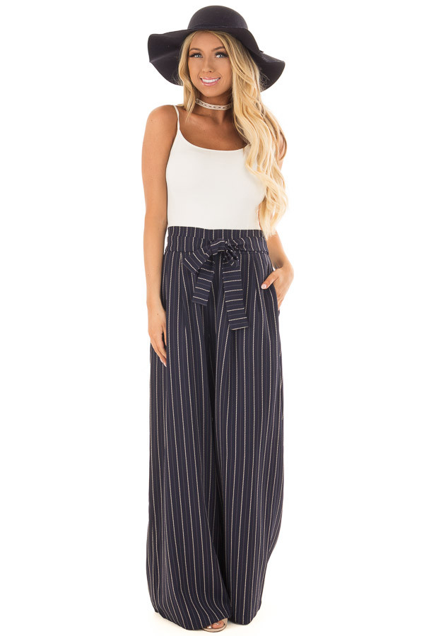 Navy Pinstripe Wide Leg Pants with Waist Tie front full body