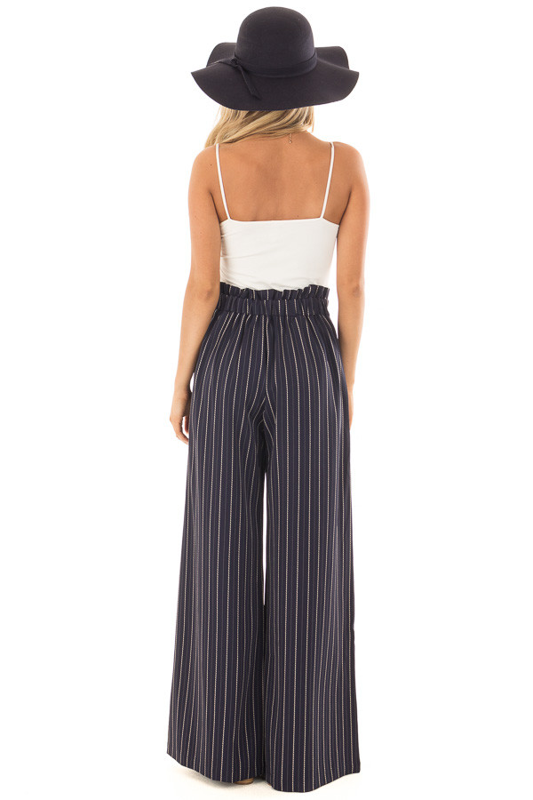 Navy Pinstripe Wide Leg Pants with Waist Tie back full body