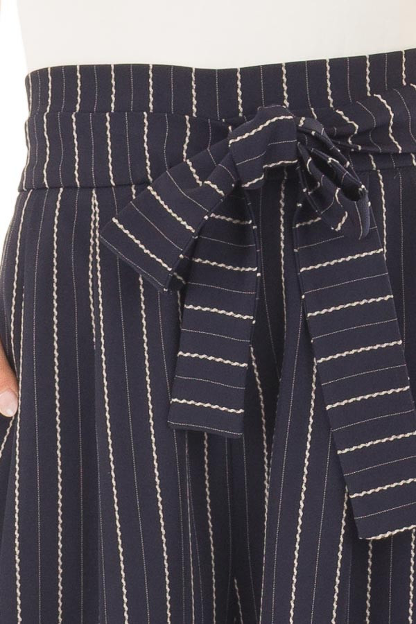 Navy Pinstripe Wide Leg Pants with Waist Tie detail