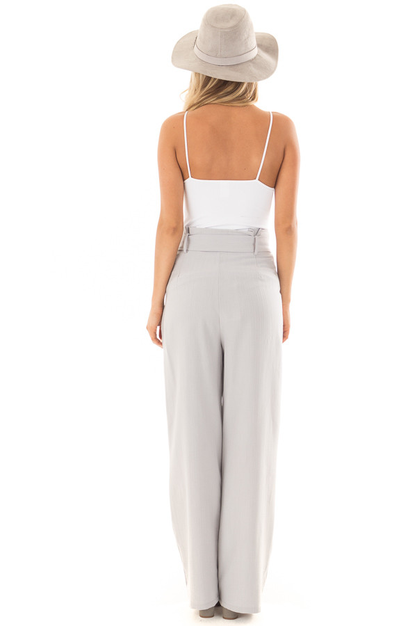 Silver Pinstripe High Waist Dress Pants with Belt Detail back full body