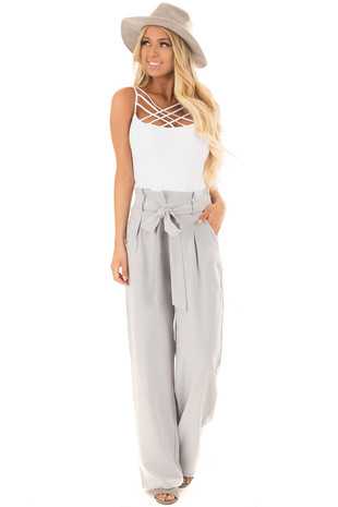 Silver Pinstripe High Waist Dress Pants with Belt Detail front full body