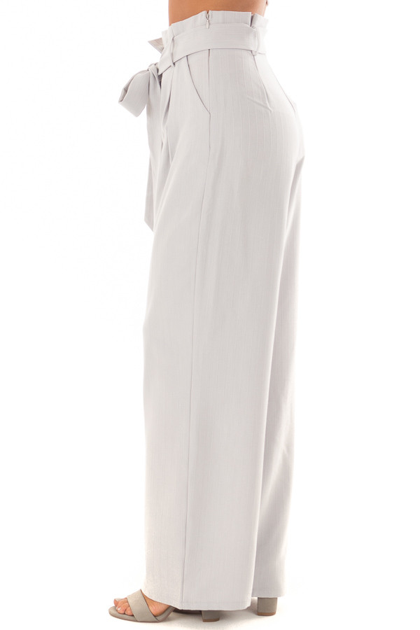 Silver Pinstripe High Waist Dress Pants with Belt Detail side view