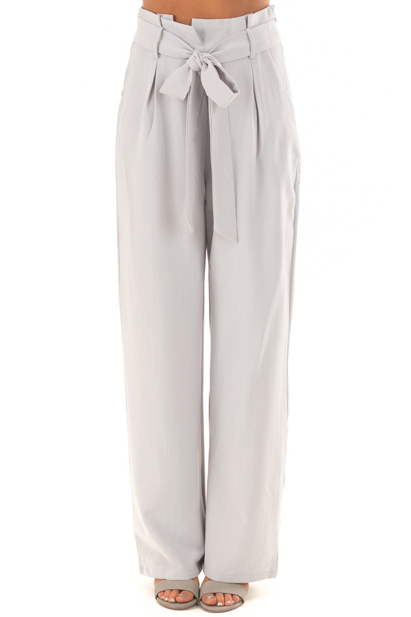 Silver Pinstripe High Waist Dress Pants with Belt Detail front view