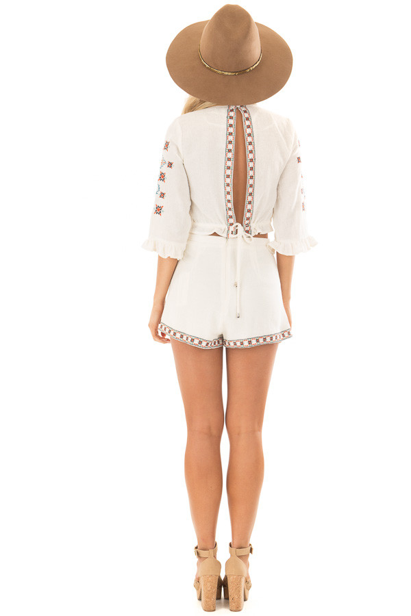 Off White Two Piece Set with Embroidery Detail back full body