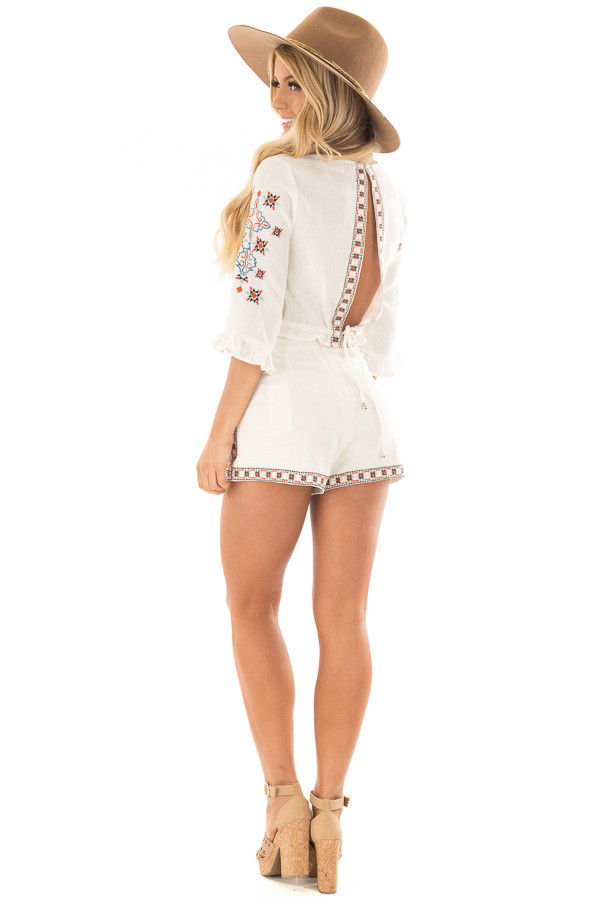 Off White Two Piece Set with Embroidery Detail back side full body