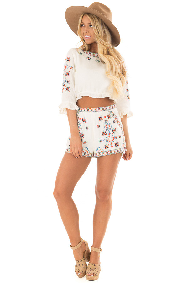 Off White Two Piece Set with Embroidery Detail front full body