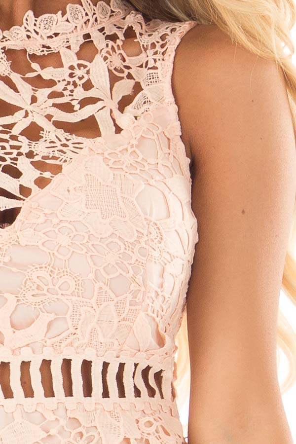Blush Sleeveless Dress with Lining and Sheer Details detail