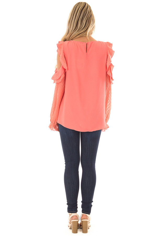 Coral Cold Shoulder Top with Textured Polka Dot Sleeves back full body
