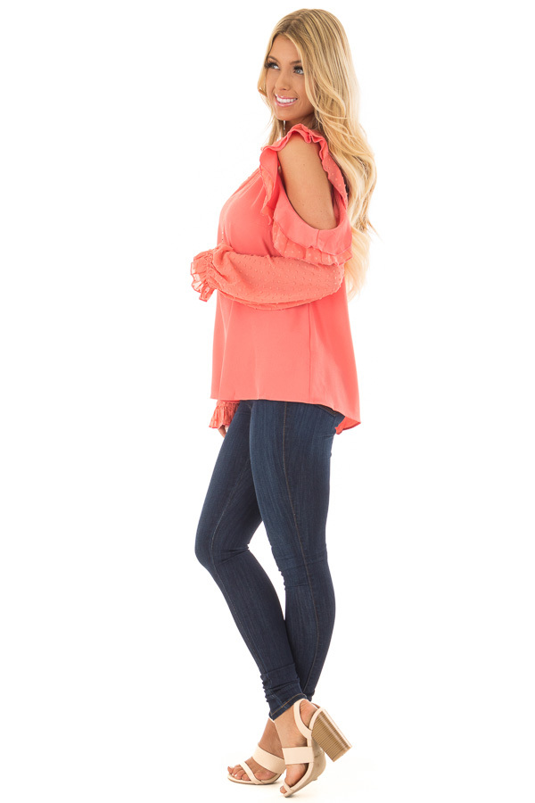 Coral Cold Shoulder Top with Textured Polka Dot Sleeves side full body