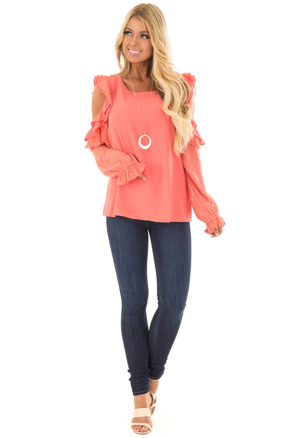 Coral Cold Shoulder Top with Textured Polka Dot Sleeves front full body