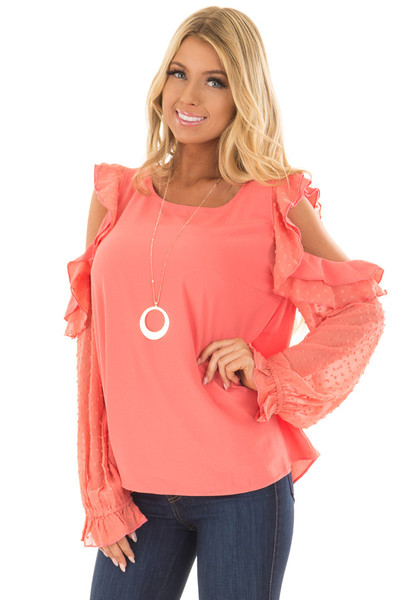 Coral Cold Shoulder Top with Textured Polka Dot Sleeves front close up