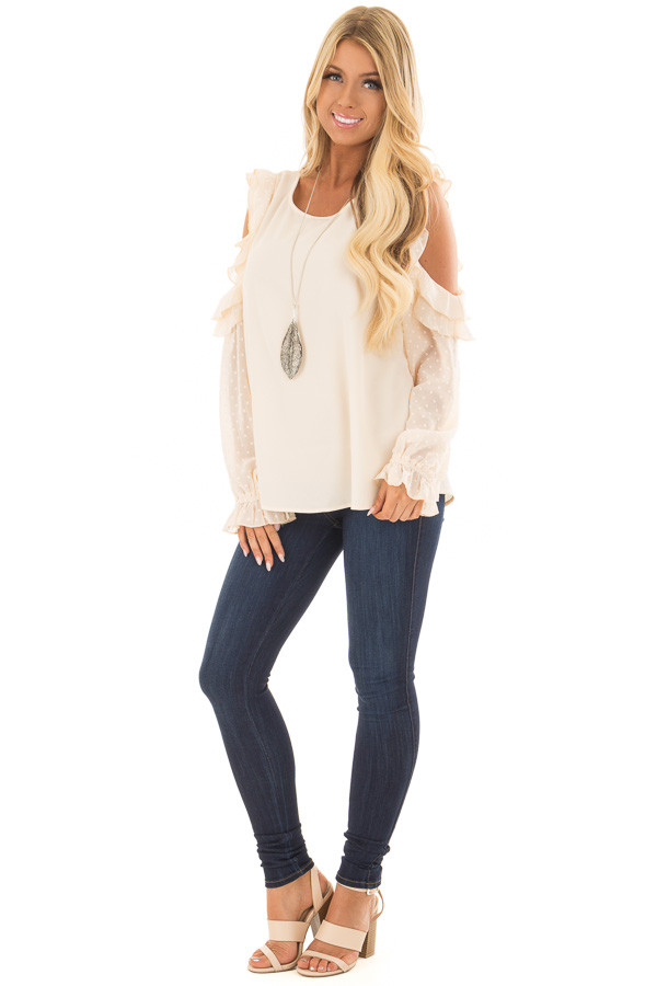 Cream Cold Shoulder Top with Textured Polka Dot Sleeves front full body