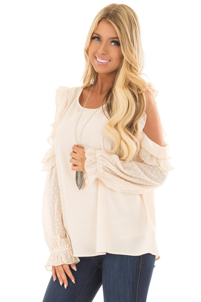 Cream Cold Shoulder Top with Textured Polka Dot Sleeves front close up