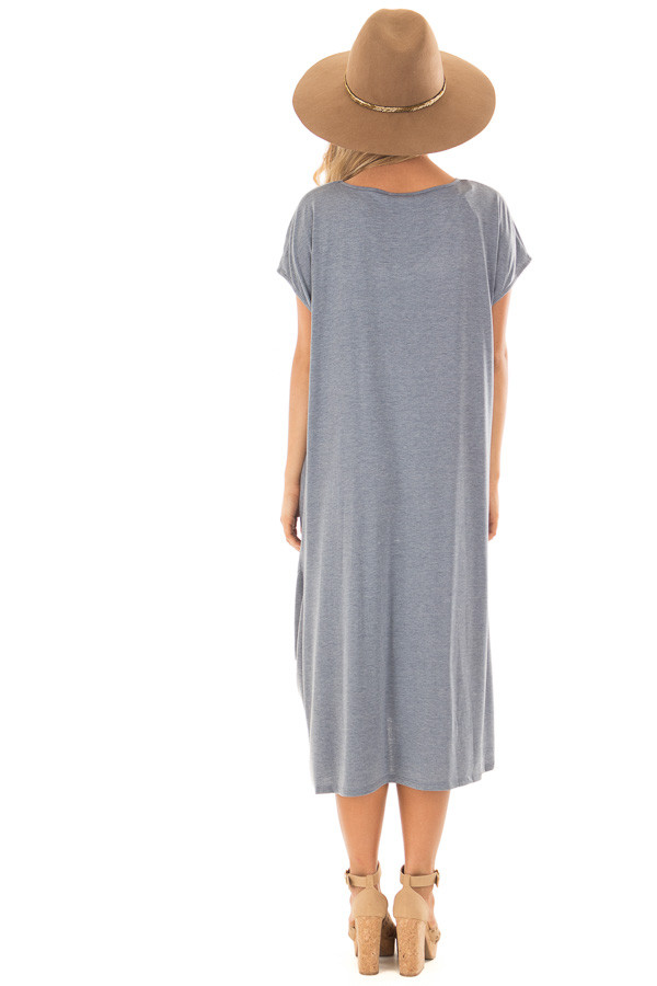 Steel Blue Comfy Short Sleeve Dress with Front Knot Detail back full body
